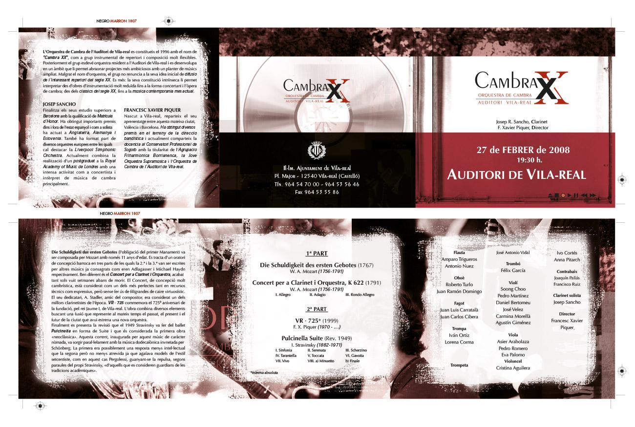 Impresión de un tríptico para un concierto de Cambra XX