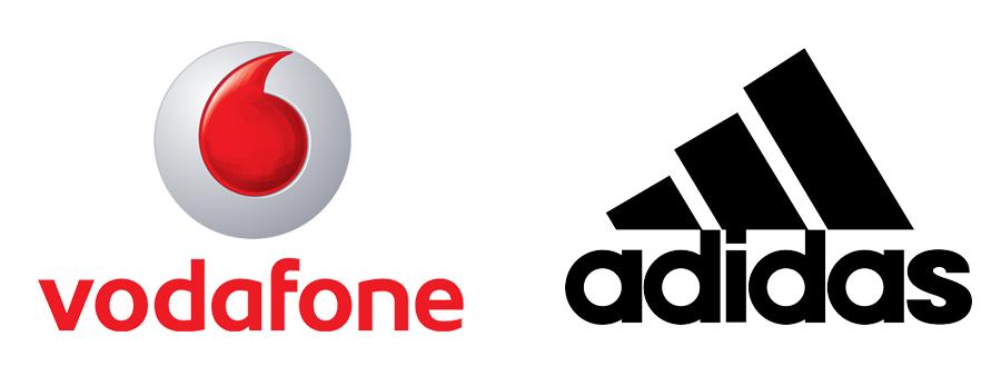 imagotipos de Adidas y Vodafone
