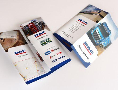 "Diseño e impresión del tríptico ""DAF – Talleres Truck Nul"""