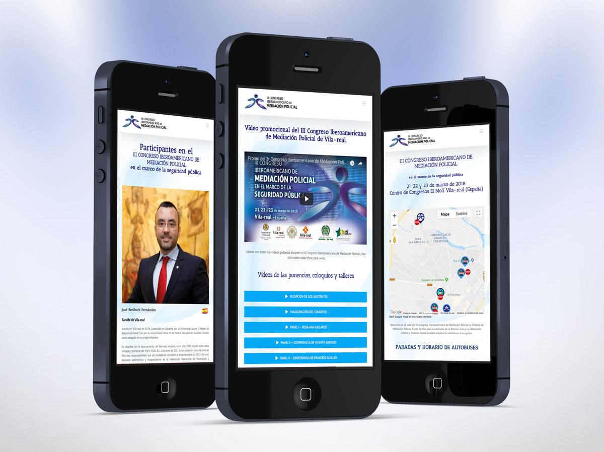 Diseño de la web del III Congreso Iberoamericano de Mediación Policial - se adapta a todas las pantallas