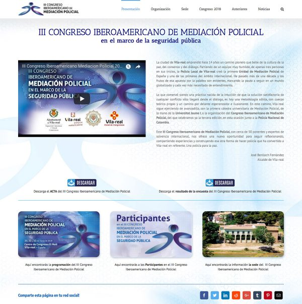 Diseño de la web del III Congreso Iberoamericano de Mediación Policial - portada