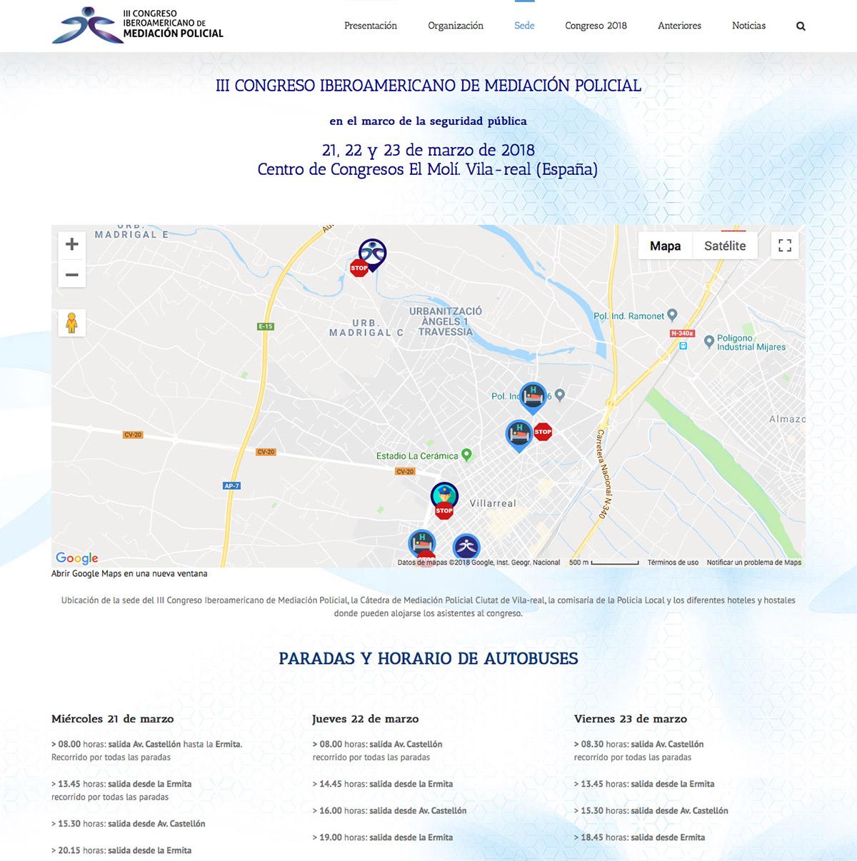 Diseño de la web del III Congreso Iberoamericano de Mediación Policial - localización