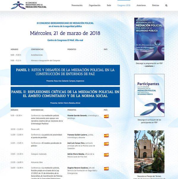 Diseño de la web del III Congreso Iberoamericano de Mediación Policial - programación