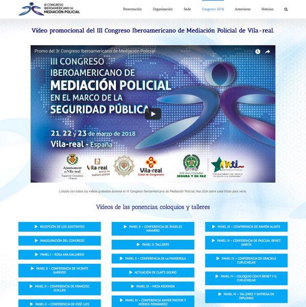 Diseño de la web del III Congreso Iberoamericano de Mediación Policial - videoteca
