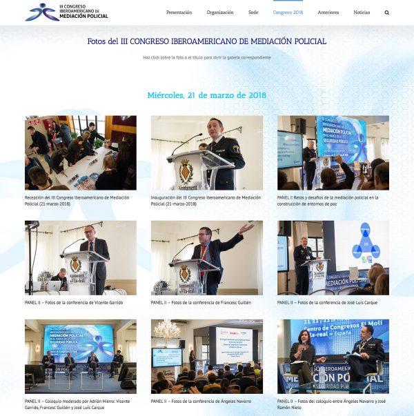 Diseño de la web del III Congreso Iberoamericano de Mediación Policial - galería fotográfica