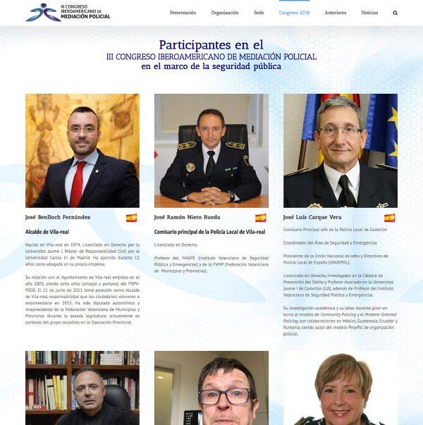 Diseño de la web del III Congreso Iberoamericano de Mediación Policial - ponentes