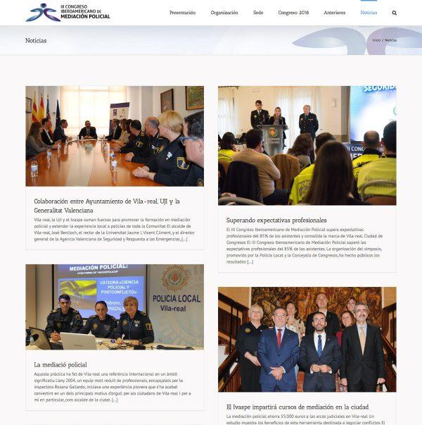 Diseño de la web del III Congreso Iberoamericano de Mediación Policial - noticias