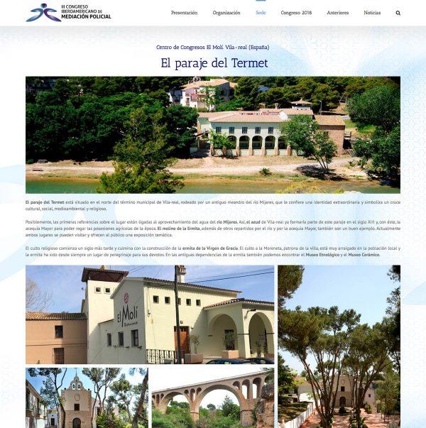 Diseño de la web del III Congreso Iberoamericano de Mediación Policial - la sede