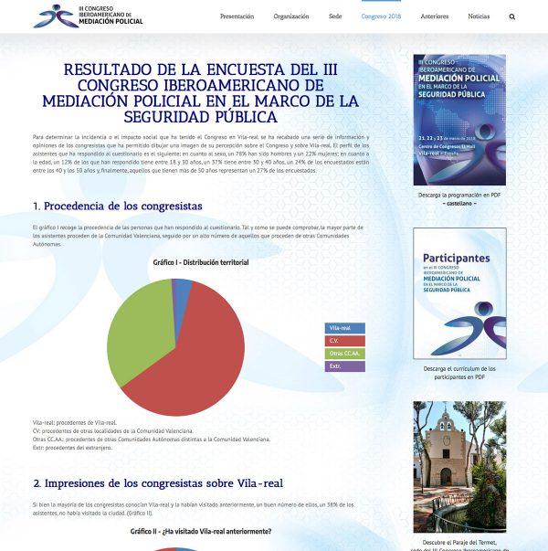 Diseño de la web del III Congreso Iberoamericano de Mediación Policial - estadísticas