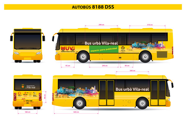 Boceto para la rotulación del autobús urbano de Vila-real