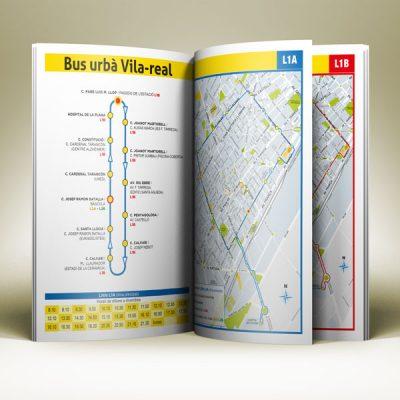 Diseño del folleto del autobús urbano de Vila-real